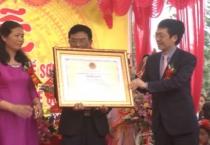 Lễ đón nhận bằng di sản văn hóa phi vật thể quốc gia cho nghề sơn mài Cát Đằng.