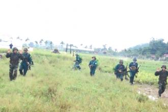 Huyện Vụ Bản tổ chức diễn tập chiến đấu phòng thủ cụm xã